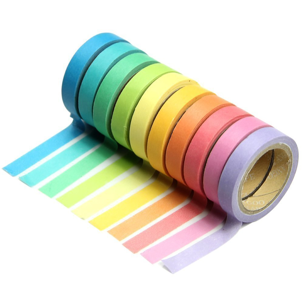Premium 10x//Set Washi Tape Rolls Decorative Sticky Paper Adhesive Tape